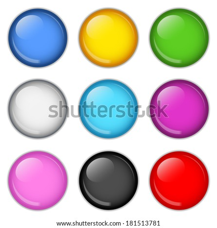 Collection of badges in various colors