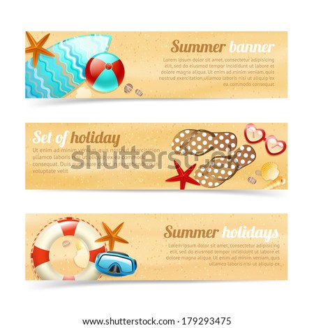 Collection of banners and ribbons with summer holiday vacation design elements isolated vector illustration - stock vector