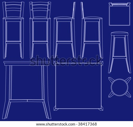 Collection bar furniture blueprint vector style stock vector collection of bar furniture in blueprint vector style malvernweather Choice Image