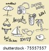 Collection of beach doodles - sketches - stock vector