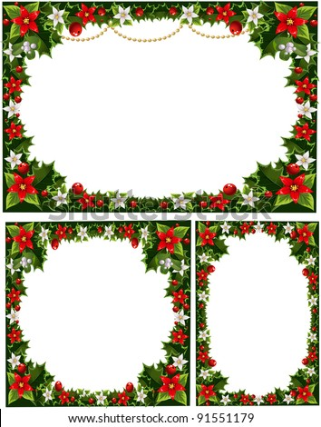 collection of beautiful decorative frames, garlands of holly, flowers, berries and mistletoe - stock vector