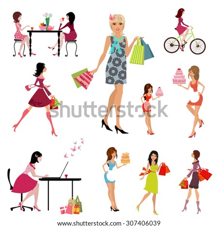 Collection of beautiful, fashion young women - stock vector