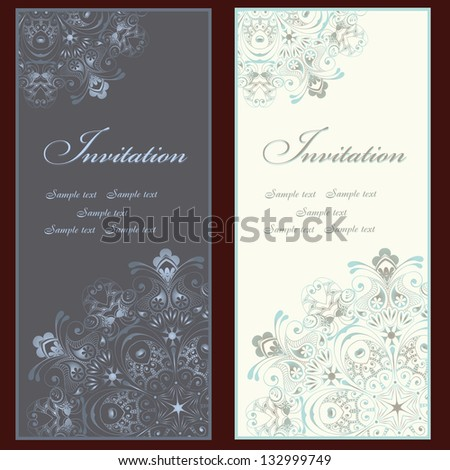 Collection of beautiful invitation vintage cards with floral elements