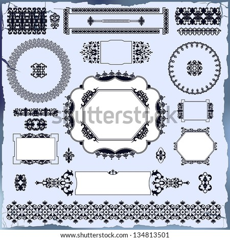 collection of beautiful ornamental vintage elements for design - stock vector