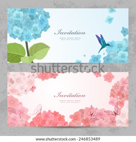 Collection of beautiful romantic banners. hydrangea for your design - stock vector