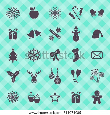 Collection of beautiful vector christmas and winter icons - stock vector