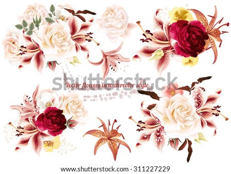 Collection of  beautiful vector rose  flowers in watercolor style - stock vector