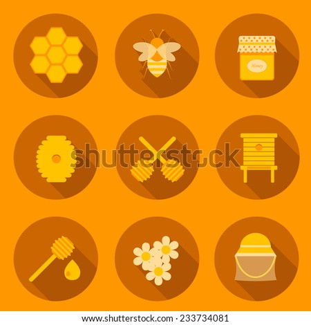 Collection of beekeeping icons for your app or site - stock vector