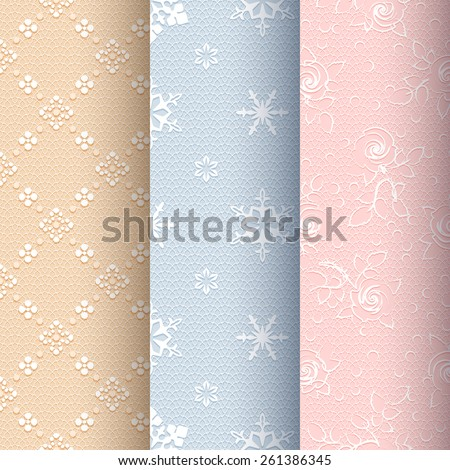 Collection of beige, blue and light pink vintage seamless classic patterns with white floral, snowflakes and roses ornament on a delicate lace background - stock vector