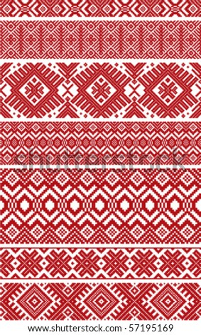 Collection of Belorussian folk ornaments - stock vector