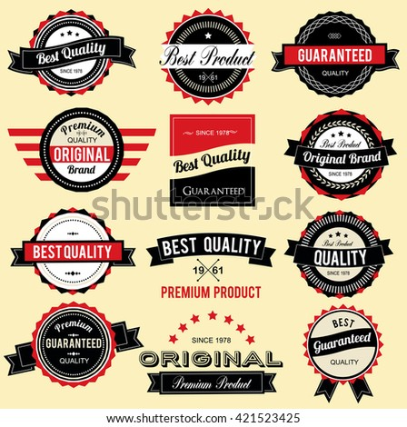 Collection of Best Quality Labels with retro vintage styled design - stock vector