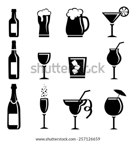Collection of beverage icons isolated on white background - stock vector
