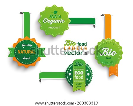 Collection of 4 bio labels. Eps 10 vector file. - stock vector