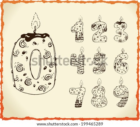 Collection of Birthday Candles - stock vector
