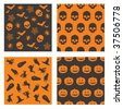 collection of black and orange halloween patterns - stock vector