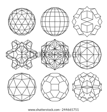 Collection of 9 black and white complex dimensional spheres and abstract geometric figures. Set of fractal 3D monochrome symbolic objects. - stock vector