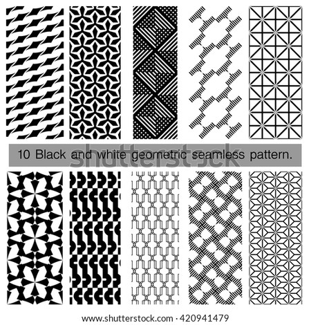 Collection of black and white geometric seamless pattern. Abstract background. Vector seamless pattern.