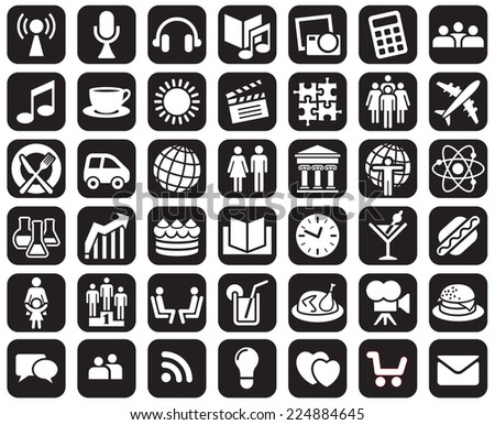 Collection of black and white icons over white background - stock vector