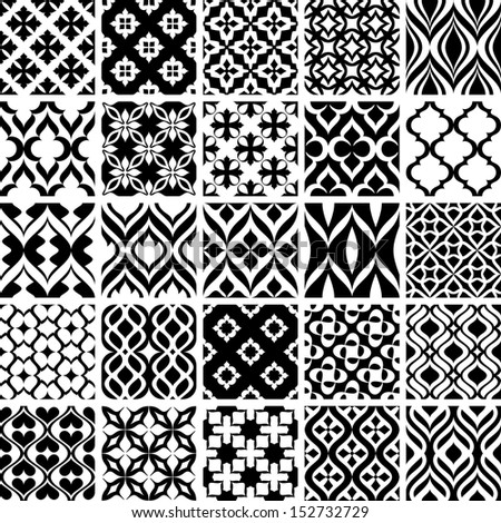 collection of black and white patterns vector illustration - stock vector