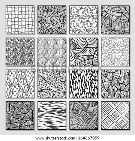 Collection of black and white seamless vector patterns.