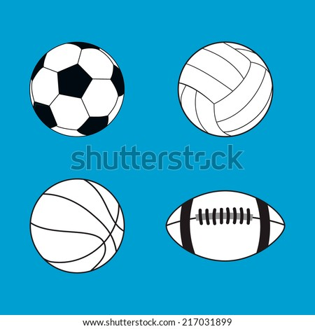Collection of black and white sport balls vector illustration flat icons on blue background - stock vector