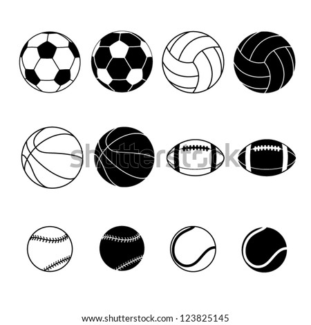 Collection Of Black And White Sports Balls Vector Illustration  Silhouettes - stock vector