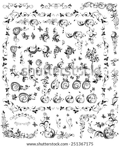 Collection of black and white vintage floral design - stock vector