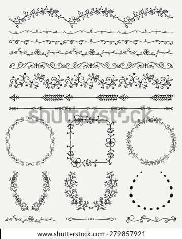 Collection of Black Artistic Hand Sketched Decorative Doodle Vintage Seamless Borders. Frames, Wreaths, Branches, Dividers. Design Elements. Hand Drawn Vector Illustration - stock vector