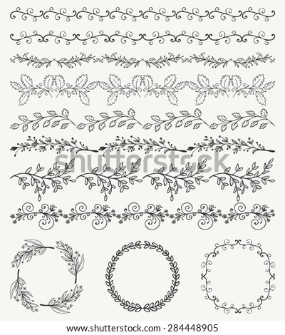Collection of Black Artistic Seamless Hand Sketched Decorative Doodle Vintage Borders and Frames. Design Elements. Hand Drawn Vector Illustration. Pattern Brashes - stock vector