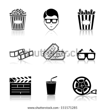 Collection of black cinema icons isolated on white background, illustration. - stock vector