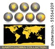 collection of black earth globes end a map isolated on white, vector illustration - stock vector