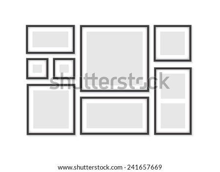 Collection of black frames - stock vector