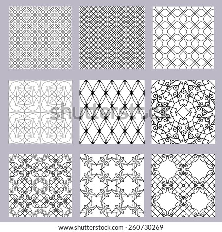 Collection of black geometric pattern on a white background