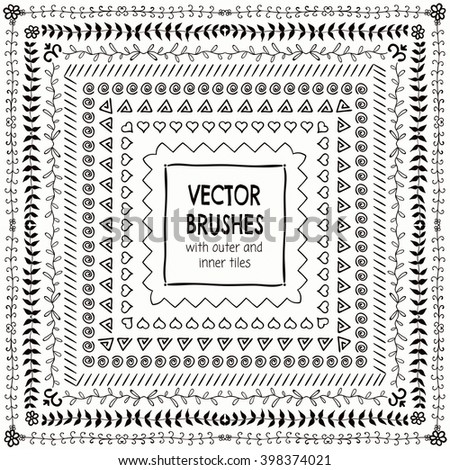 Collection of Black Hand Drawn Doodle Pattern Brushes with Outer and Inner Tiles, Borders and Frames. Decorative Sketched Rustic Vector Illustration with Pattern Brushes - stock vector