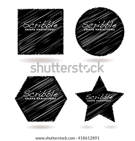 Collection of black scribble icons with drop shadow and copyspace - stock vector
