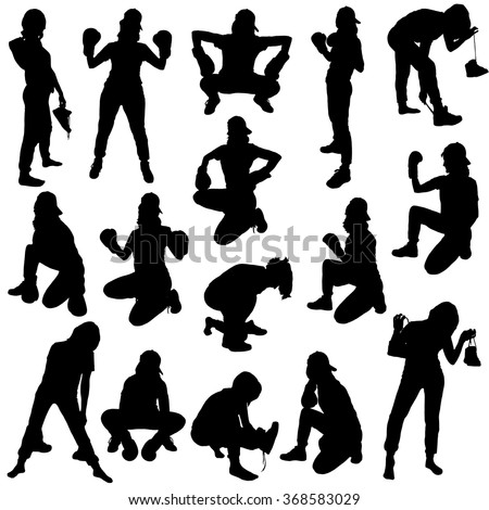 Collection of black silhouettes of girls in Boxing gloves and sneakers on a white background. - stock vector