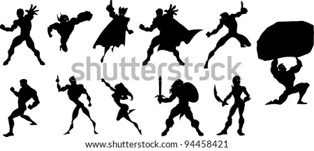 Collection of black silhouettes of superheroes - stock vector