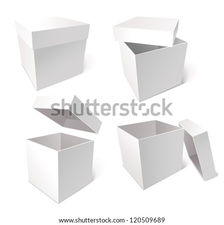Collection of blank boxes isolated on white background, vector illustration - stock vector