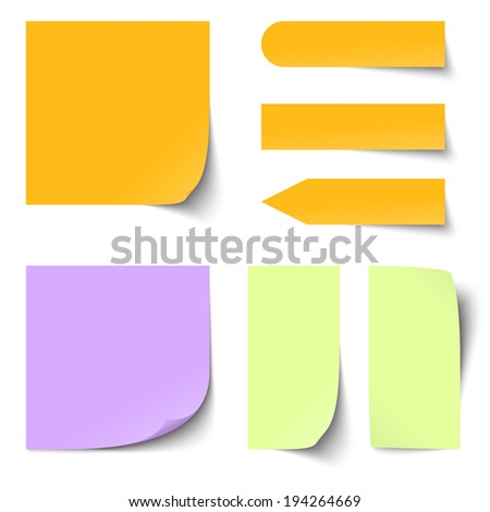 Collection of blank colored sticky notes - stock vector
