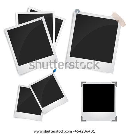 Collection of blank photo frames with adhesive tape, different shadow effects and empty space for your photograph and picture. vector illustration isolated on white background.