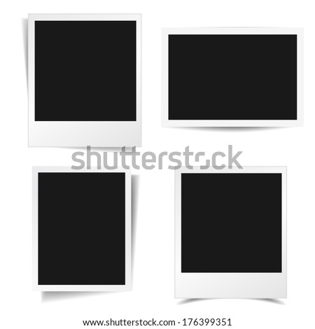 Collection of blank photo frames with different shadow effect and empty space for your photograph and picture. EPS10 vector illustration isolated on white background. - stock vector
