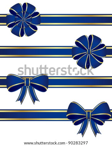 Collection of blue bows. - stock vector