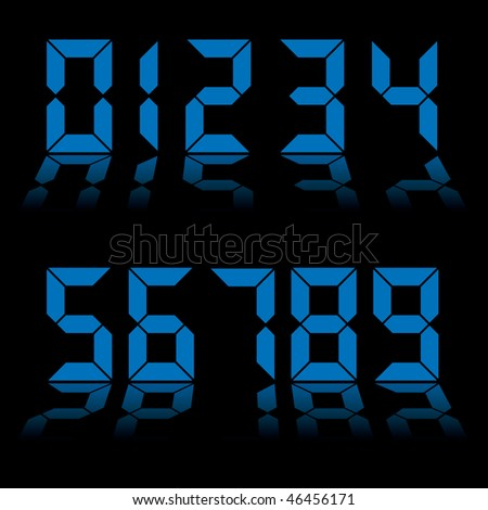 Collection of blue digital numbers as used on clocks and computers - stock vector