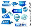 Collection of blue sale tickets, labels, stamps, stickers, corners, tags on white background - stock vector