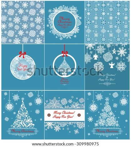Collection of blue xmas greetings with paper snowflakes - stock vector