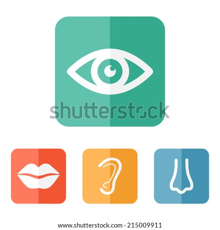 Collection of body parts on colored buttons. EPS 10 vector. - stock vector