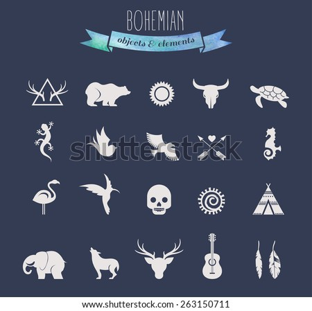 Collection of Bohemian, tribal and ethnic objects, elements and icons - stock vector