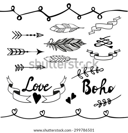 Collection of boho doodle design elements. Hand drawn vector illustration. - stock vector