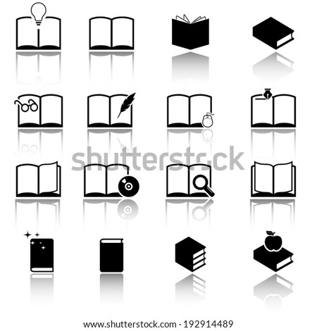 Collection of book icons - stock vector