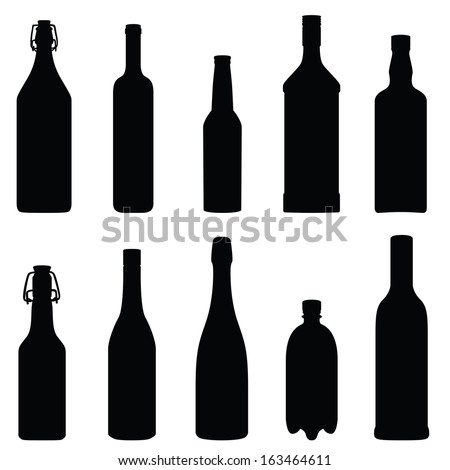 Collection of bottles (vector illustration) - stock vector